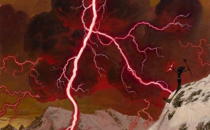 Lightning Bolt MTG Banner Card in Focus
