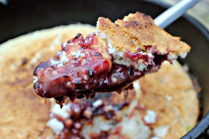 Blackberry Campfire Cobbler on the spoon.