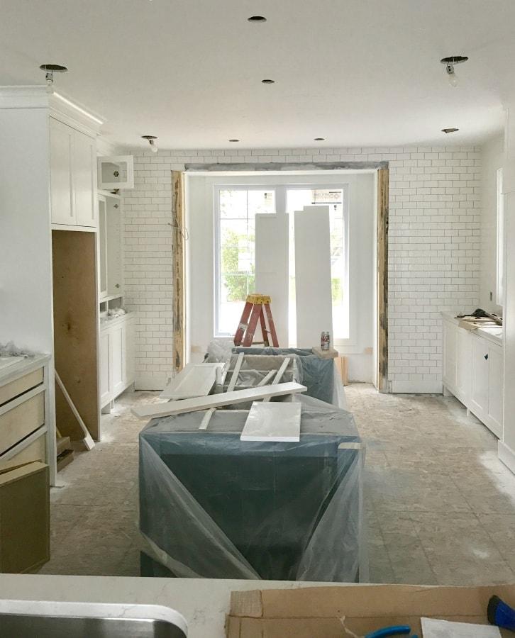 Subway tile white kitchen progress