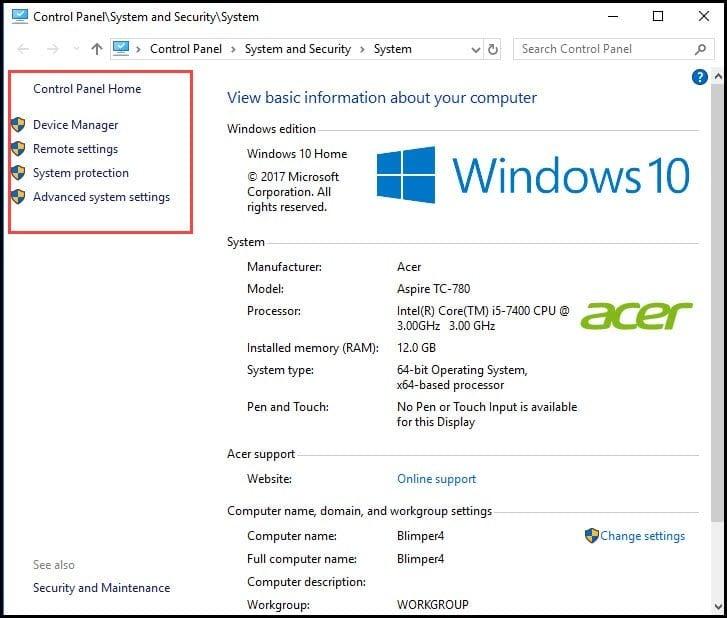 Windows basic info