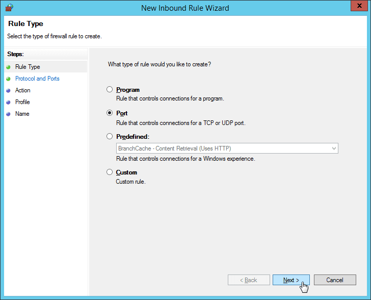 "Windows Firewall - New Inbound Rule Wizard - Select ""Port"" to Open"