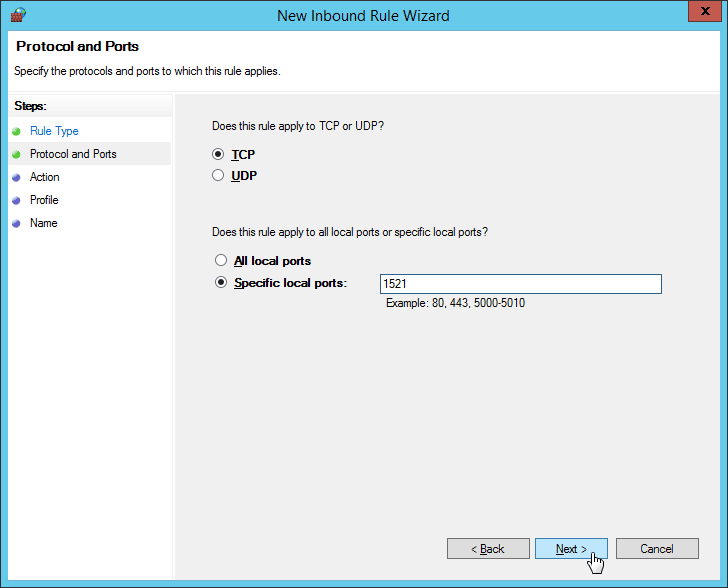 "Windows Firewall - New Inbound Rule Wizard - Input Port Number ""1521"""