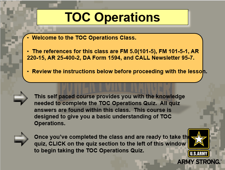 TOC Operations Version II