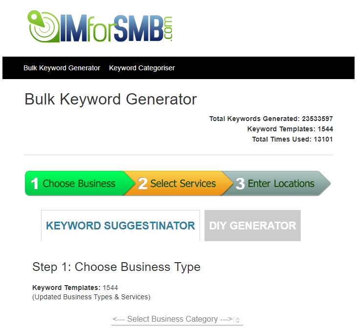 IMforSMB Bulk Keyword Generator