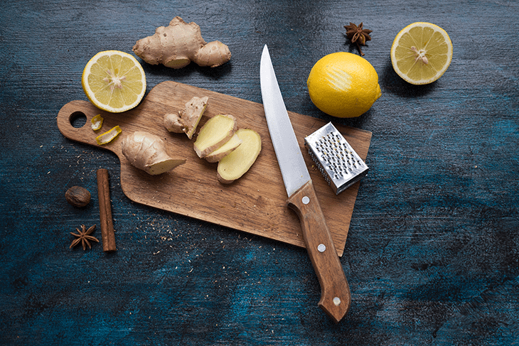 cutting ginger and lemon