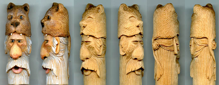 cane, walking stick, and wizard wand carving