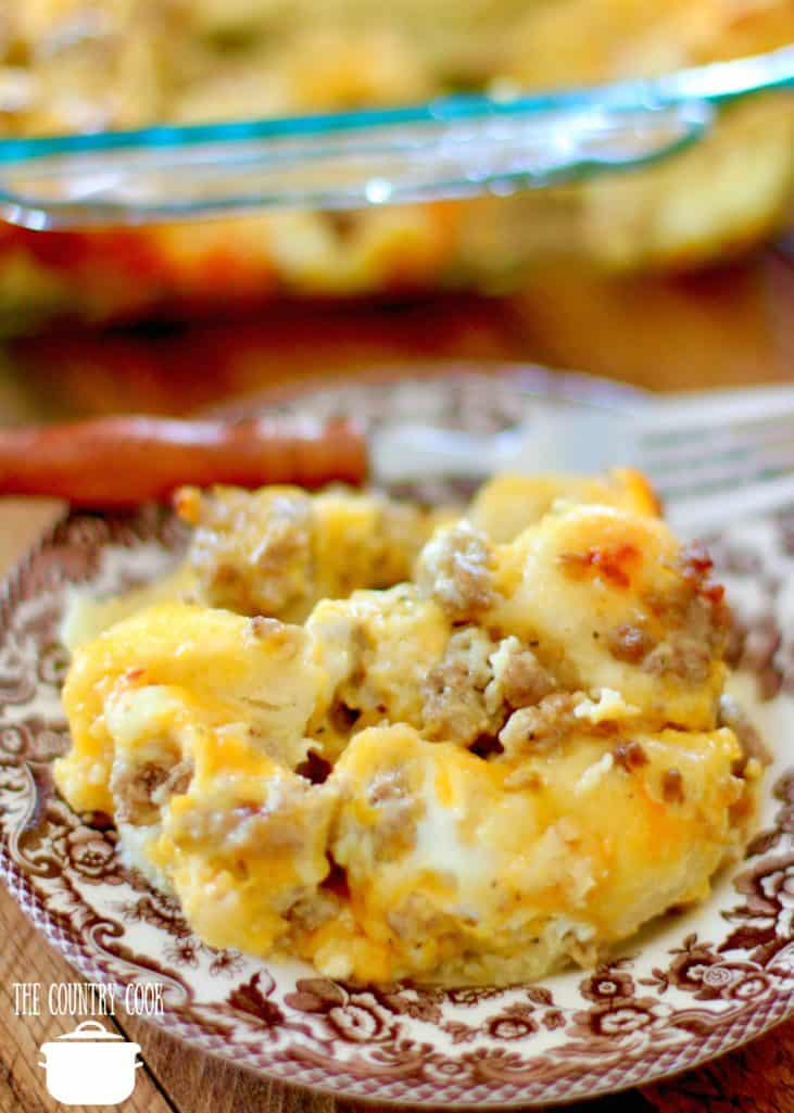 Easy Sausage Egg and Cheese Biscuit Casserole recipe