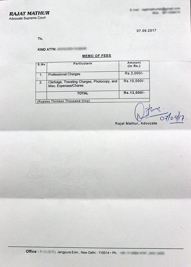 Memo of fees provided by the Supreme Court Advocate