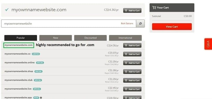 step 3 namecheap recommended to go for dotcom