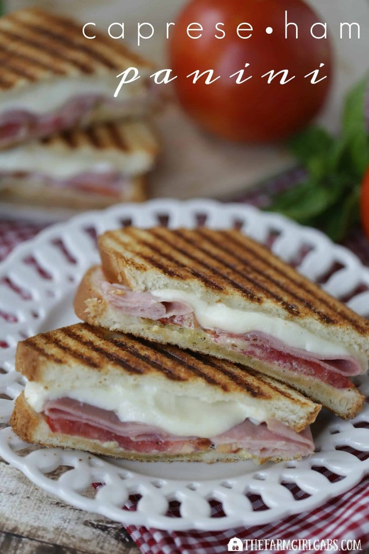 This Caprese Ham Panini is perfection between two slices of Pepperidge Farm bread! Fresh tomatoes, fresh mozzarella, ham and a basil spread equal one delicious sandwich recipe. #Ad #SandwichWithTheBest