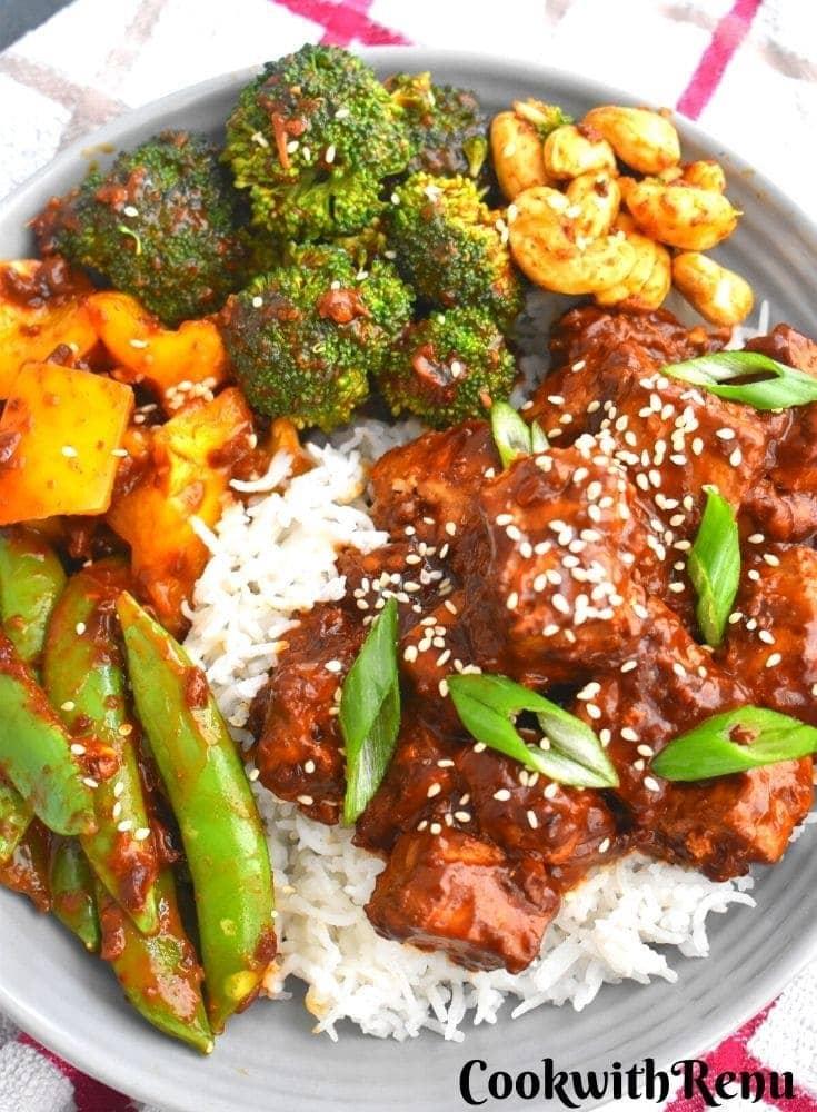Pan-fried cirspy tofu bowl by Cook with Renu