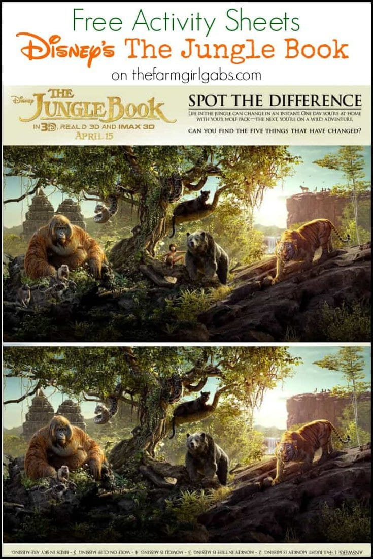 Download these free Disney's The Jungle Book Activity Sheets. #JungleBook
