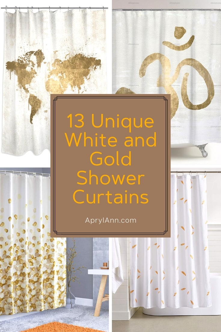 White And Gold Shower Curtains