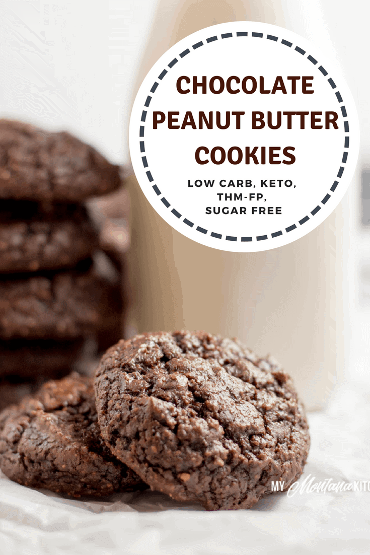 Rich and fudgy, you would never know that these Chocolate Peanut Butter Cookies only have 26 calories each! These healthy, delicious cookies are gluten free, sugar free, dairy free, and a Trim Healthy Mama FP recipe! #trimhealthymama #thm #chocolate #chocolateandpeanutbutter #peanutflour #thmfp #fuelpull #chocolatecookie #healthycookie #thmcookie #mymontanakitchen #lowcarb #dairyfree #sugarfree #keto
