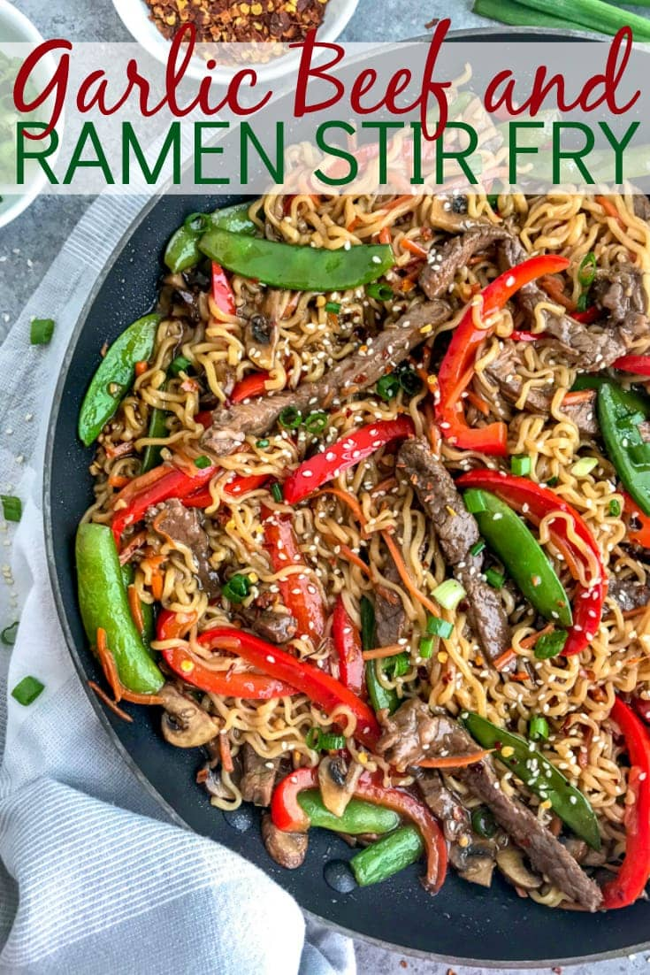 This Garlic Beef and Ramen Stir Fry is so easy to make, bursting full of flavor, and guaranteed to wow you and your dinner guests! A much healthier version of take-out that can be made right at home! #takeout #ramennoodles #garlicbeefandramen   https://withpeanutbutterontop.com