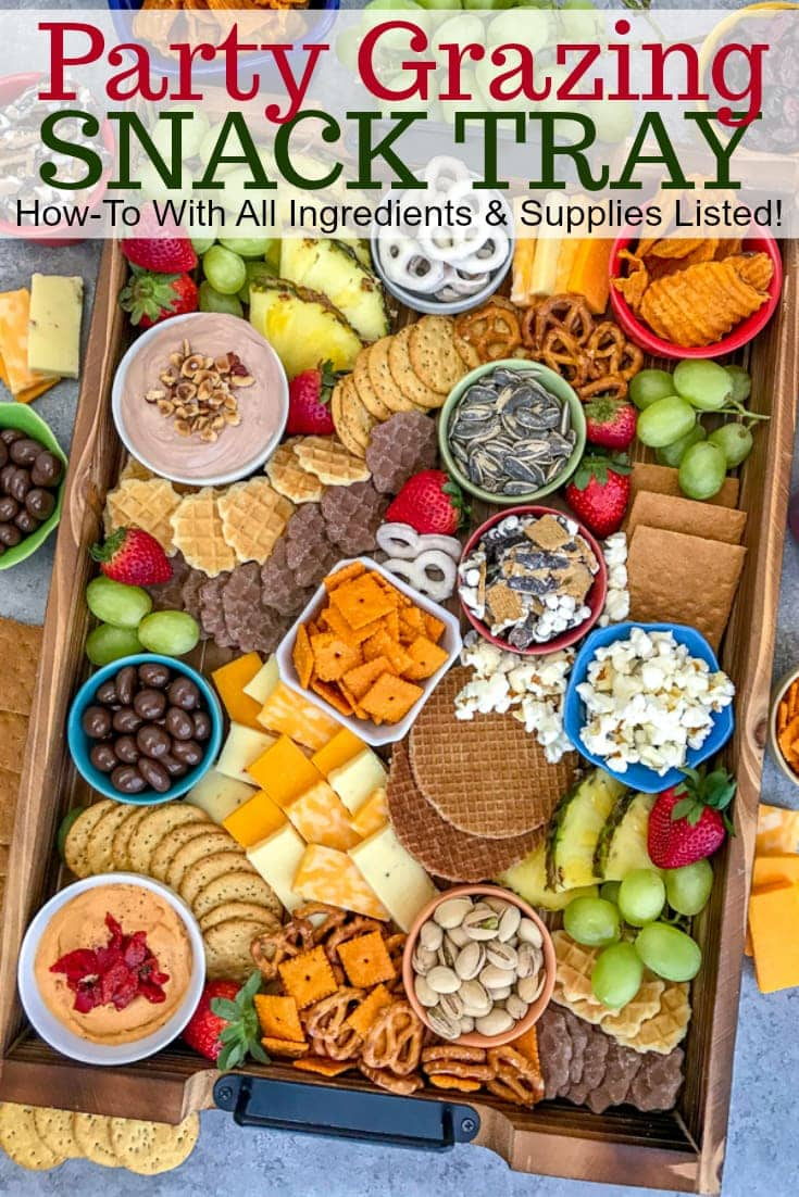 Party Grazing Snack Tray With Peanut Butter On Top
