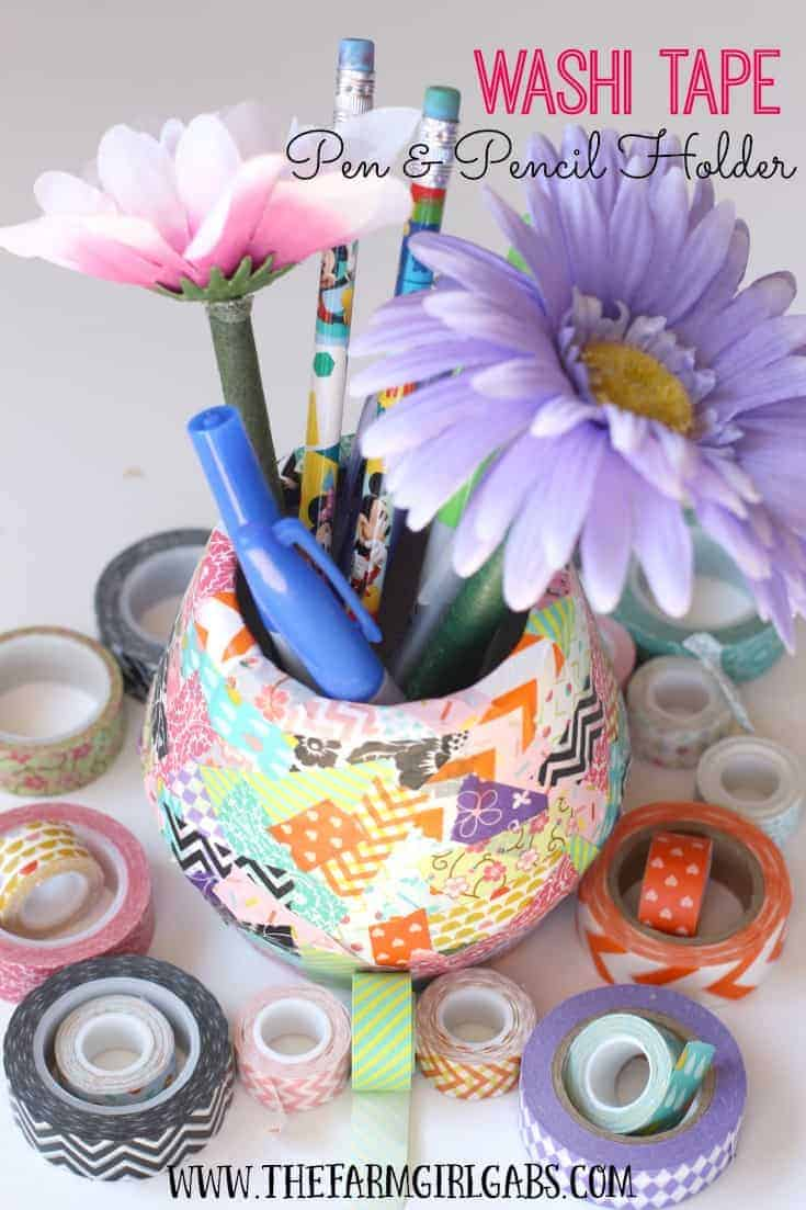 Organize your pens and pencils with this easy DIY Washi Tape Pen & Pencil Holder.