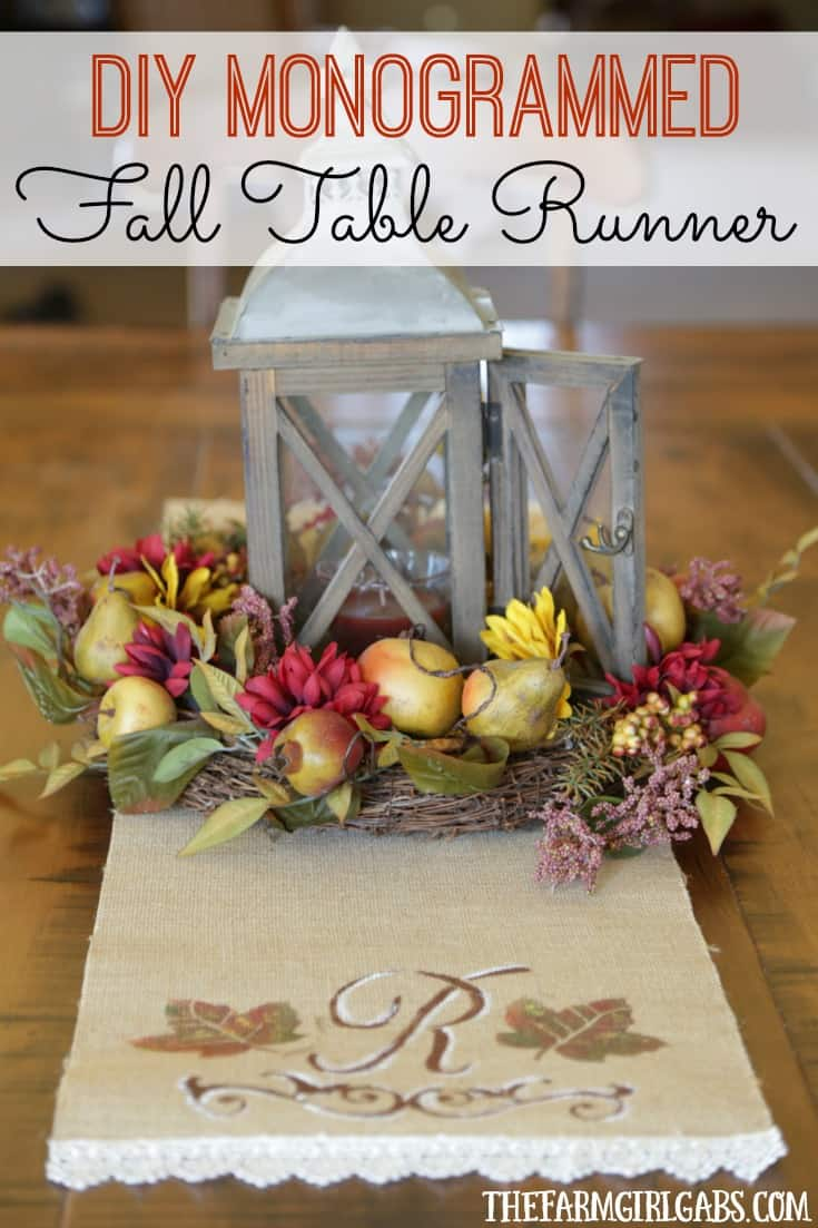 Dress up your Thanksgiving table with this easy DIY Monogrammed Fall Table Runner. It's a simple fall craft to add a personal touch to your dining table. AD #Prep4Gathering