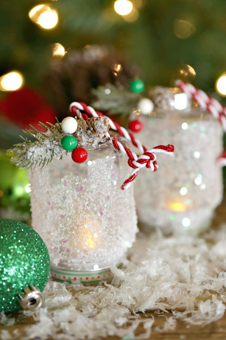 This easy DIY Snowy Lantern Ornament will shine brightly on your Christmas tree.