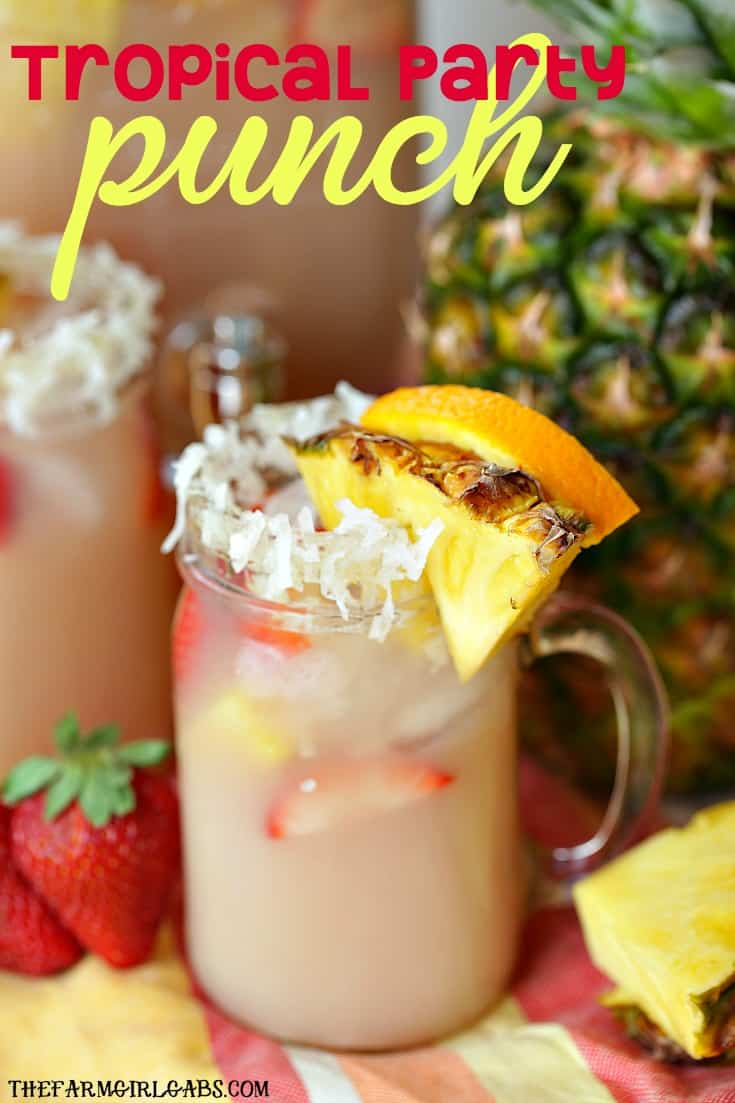 Five ingredients and 10 minutes will get you the perfect tropical party punch recipe great for parties, showers, brunches or virtually any occasion. (AD) #UpgradeYourSummer, #Johnsonville, #IC, #drinks #summerdrinks #drinkrecipe #punch #punchrecipe