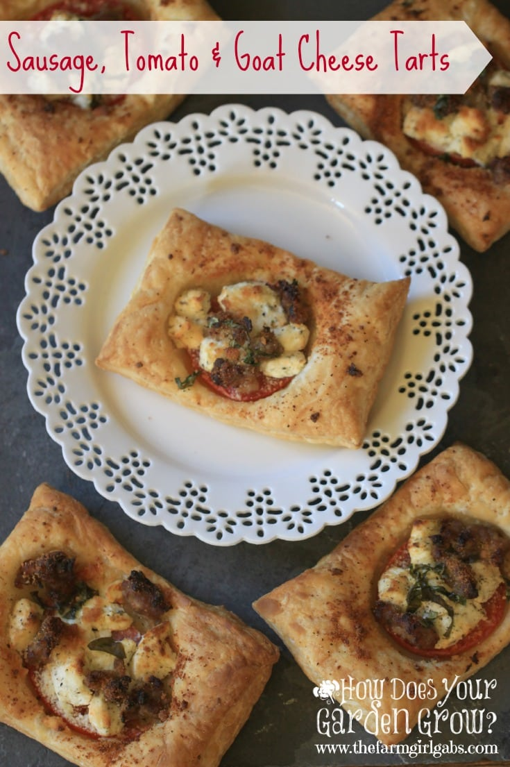 These Sausage, Tomato and Goat Cheese Tarts are an elegant yet simple recipe to impress your friends and family at your next party. This recipe is super simple and really delicious! #JoanOfArcGoat #sp #FromageSince1918 #gaga4goatcheese #ad