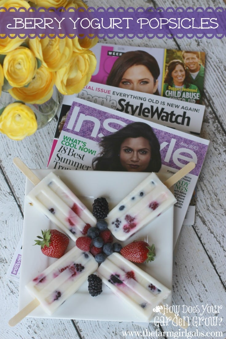 """#AD I love to celebrate """"me time"""" by catching up with my favorite magazines like  PEOPLE StyleWatch®, InStyle®, and Us Weekly® while enjoying these delicious Berry Yogurt Popsicles. This popsicle recipe is packed with berries and so easy to make. #pmedia #summer4me"""