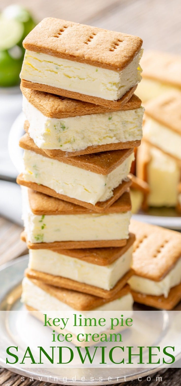A stack of homemade ice cream sandwiches with key lime gelato