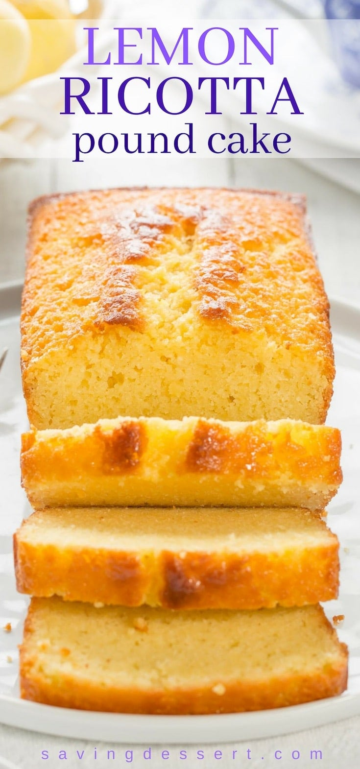A sliced lemon ricotta pound cake