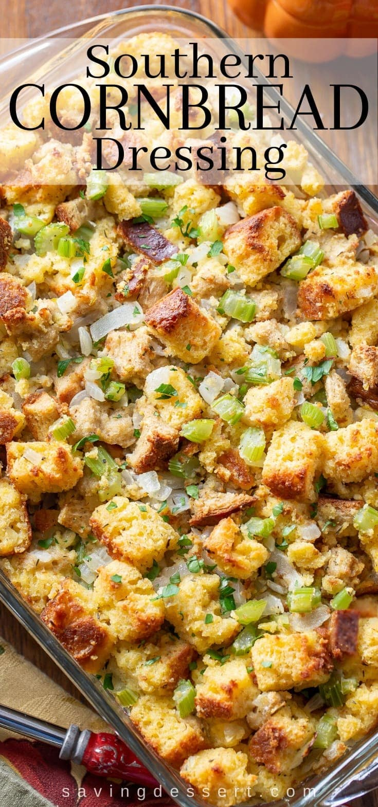 A casserole with Southern Cornbread Dressing