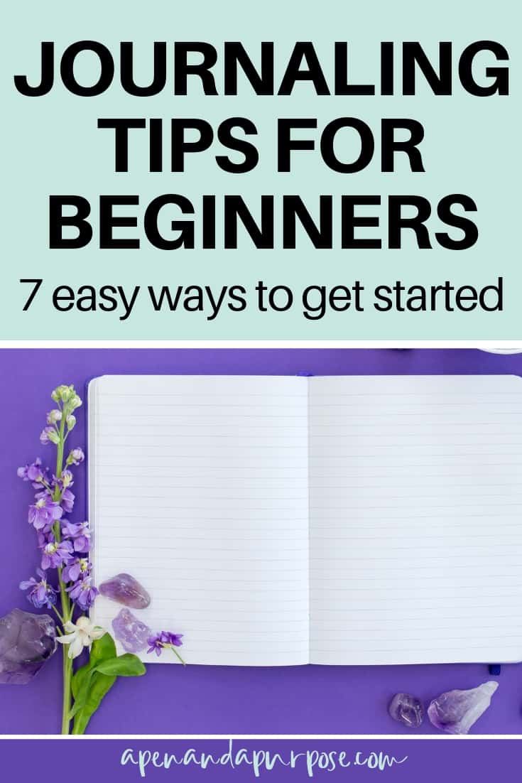 Journaling Tips for Beginners: 7 easy ways to get started. Open blank journal with purple background