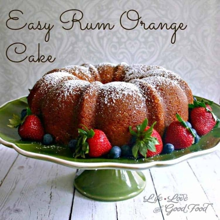 Easy Rum Orange Cake. This almost-made-from-scratch cake starts with a box of yellow cake mix, a package of lemon pudding, and fresh-squeezed orange juice