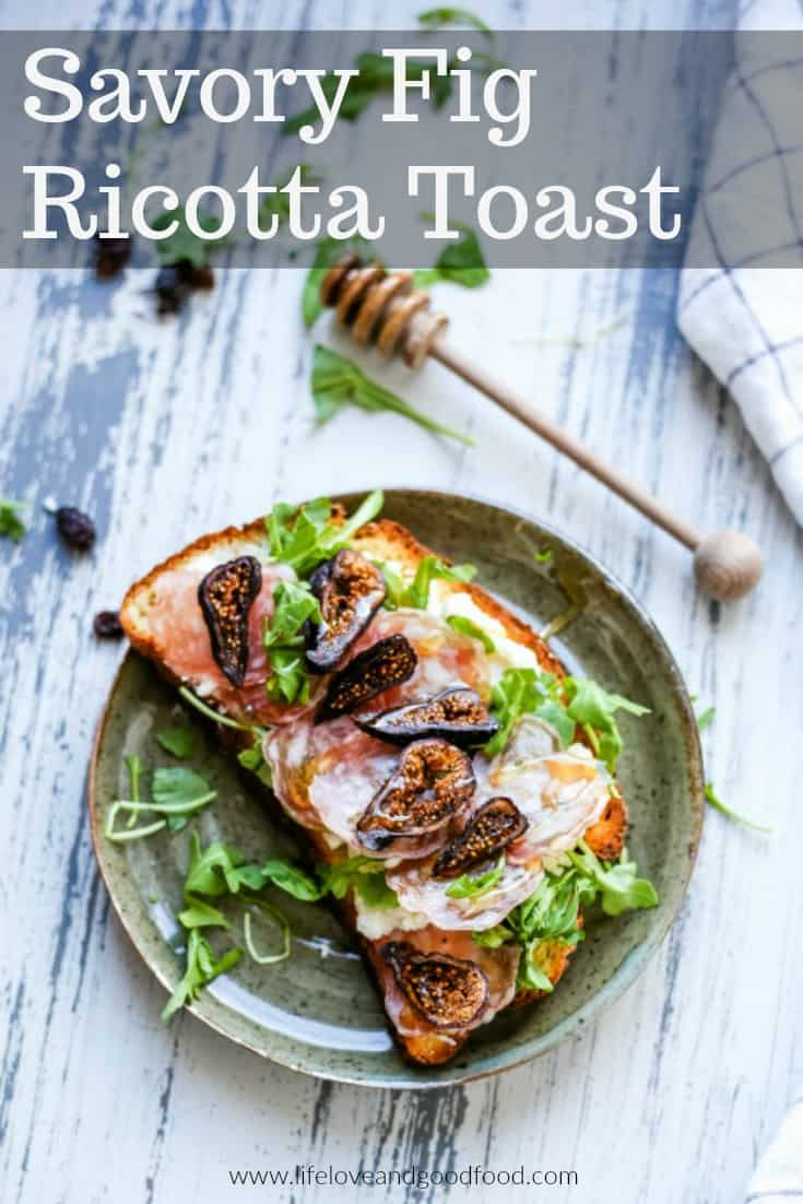 Savory Fig Ricotta Toast made with whipped ricotta, arugula, Italian salami, and dried California black mission figs