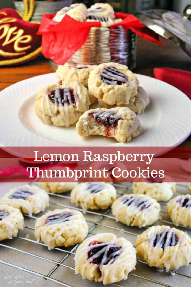A delicious buttery lemon cookie with a sweet raspberry jam thumbprint, drizzled with an almond glaze