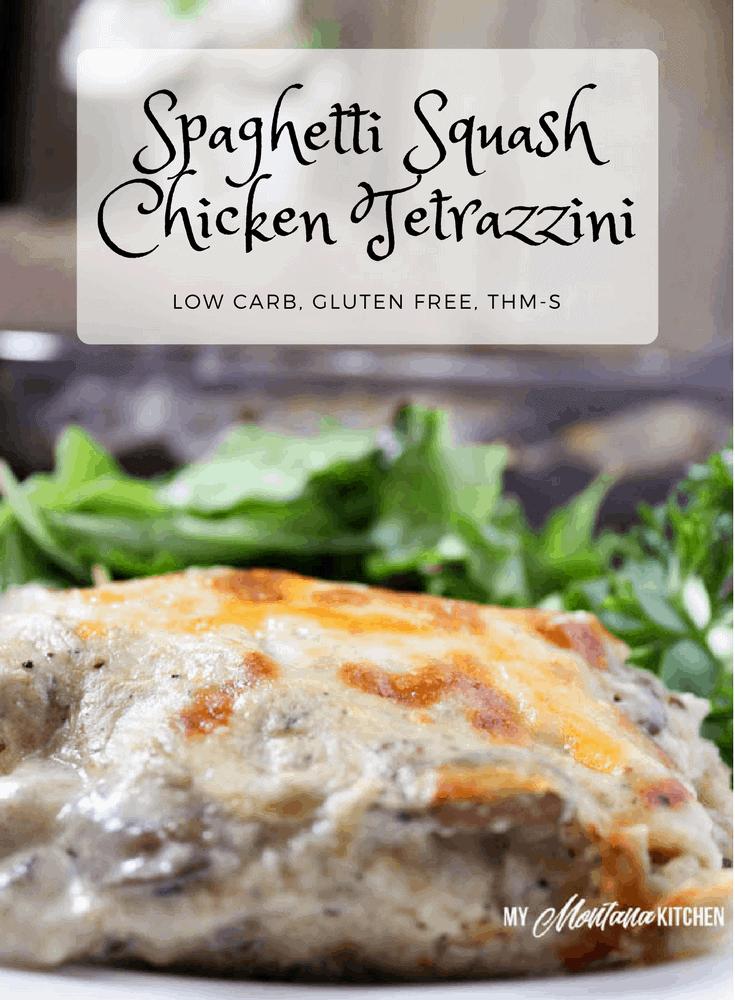 Spaghetti Squash Chicken Tetrazzini (Low Carb, Gluten Free, THM-S) #trimhealthymama #thm #thms #chicken #recipe #tetrazzini #glutenfree #lowcarb #lowcarbcasserole