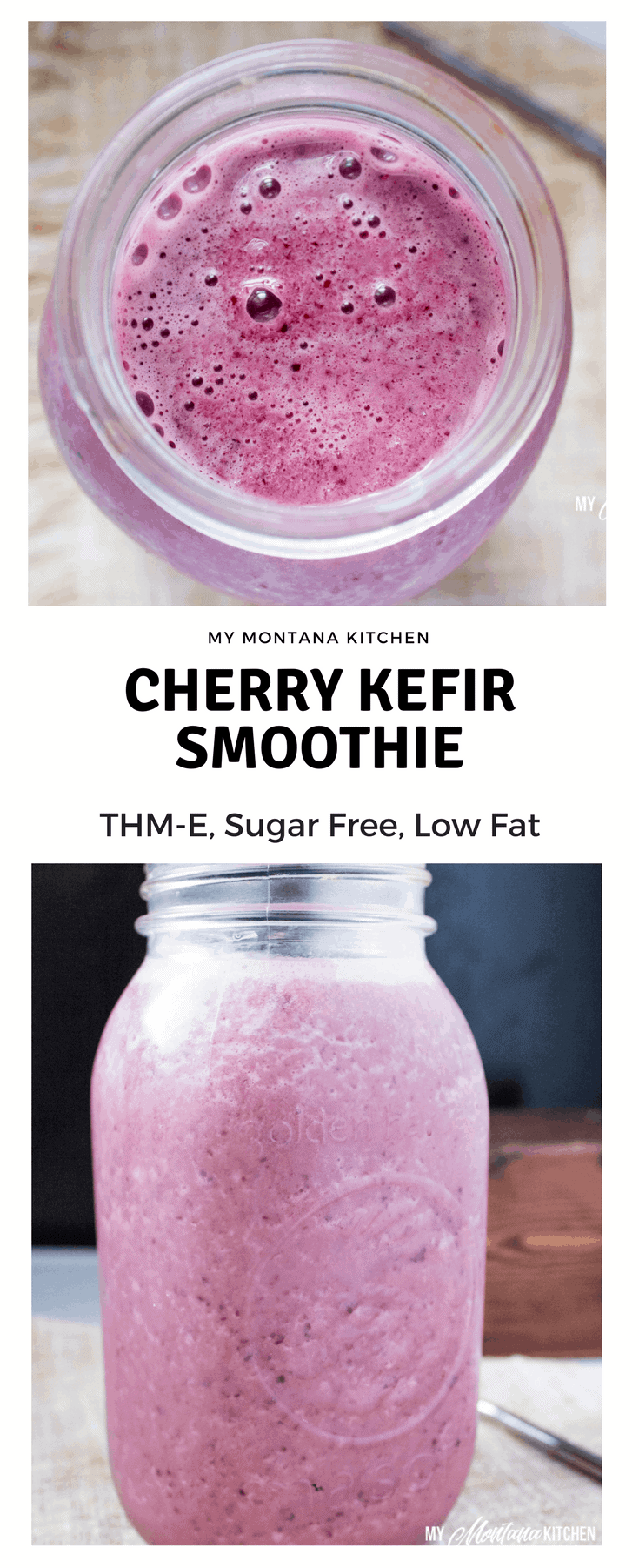 Cherry Kefir Smoothie (Low Fat, THM-E, Sugar Free) #trimhealthymama #thm #thme #healthycarbs #cherries #kefir #smoothies #healthydrink #probiotics