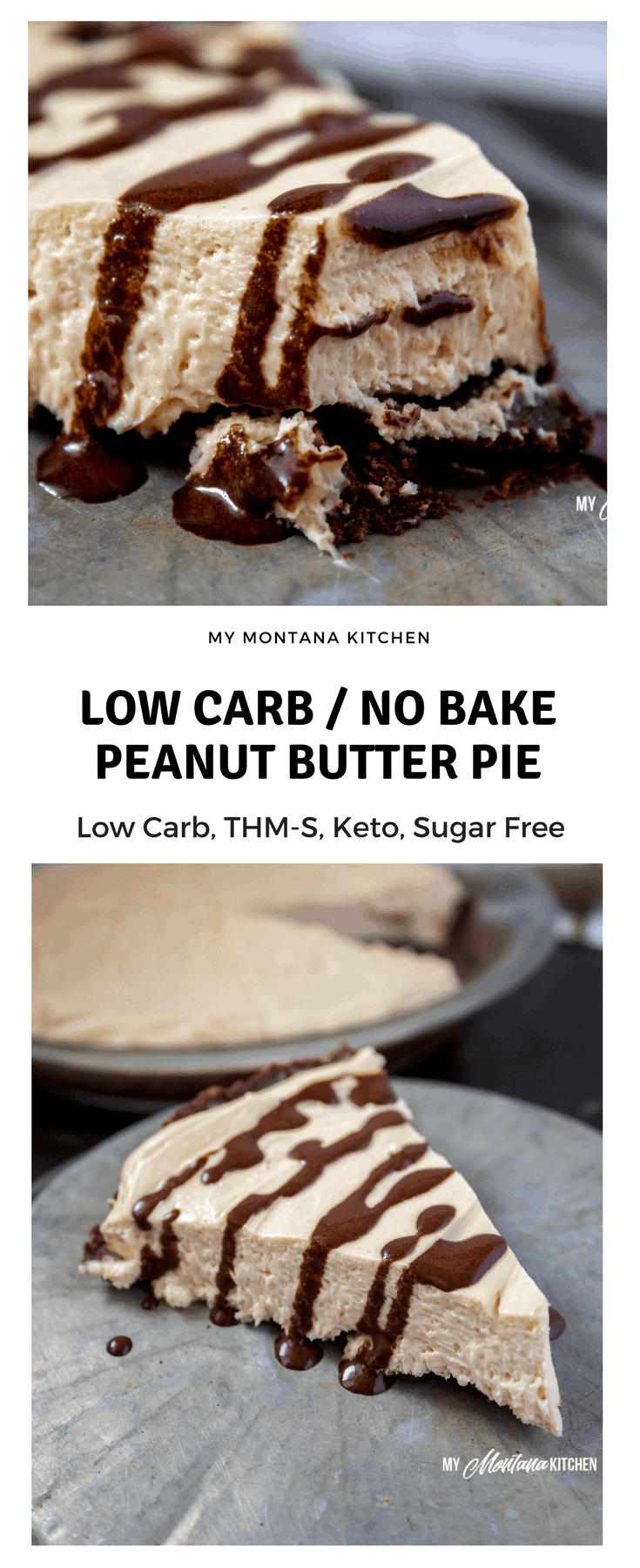 No Bake Low Carb Peanut Butter Pie (THM-S, Keto, Sugar Free, Gluten Free) #trimhealthymama #thm #lowcarb #keto #sugarfree #peanutbutter #chocolate #pie #peanutbutterpie