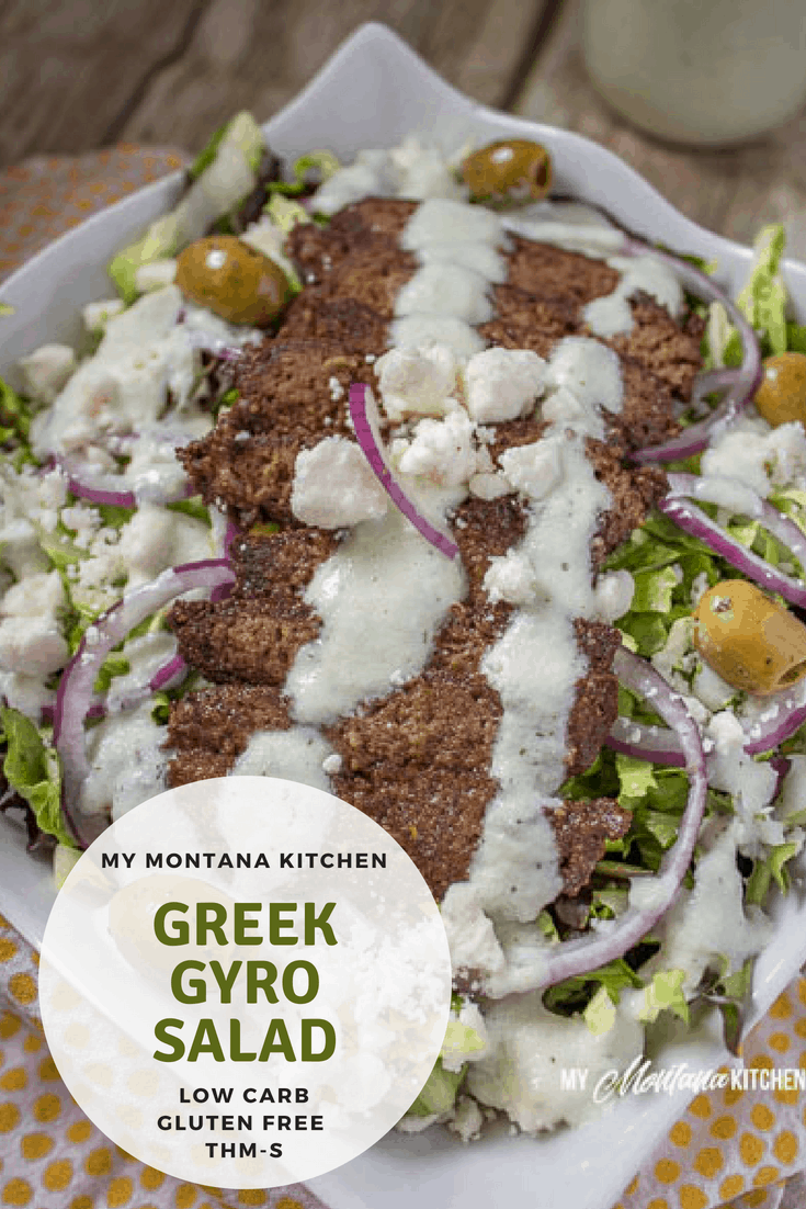 This savory salad has all the flavor of Greek Gyros, and it makes a delicious healthy dinner! Even my kids loved this healthy entree! #trimhealthymama #thm #ketosalad #lowcarb #gyrosalad #greeksalad #greek