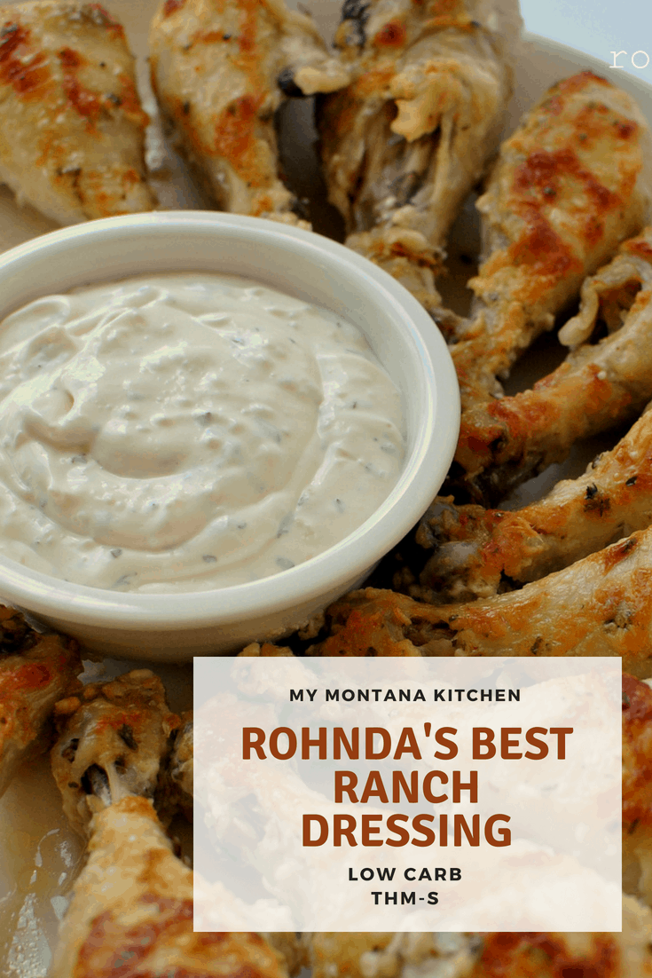 This is the Best Ranch Dressing, hands down. Rich, creamy, and full of tangy ranch flavor, this homemade ranch is the perfect low carb dressing for your salad. Or use it to dip wings, pizza, pickles, or vegetables. #trimhealthymama #rohndasranch #homeamderanchdressing #homemadedressing #keto #lowcarb
