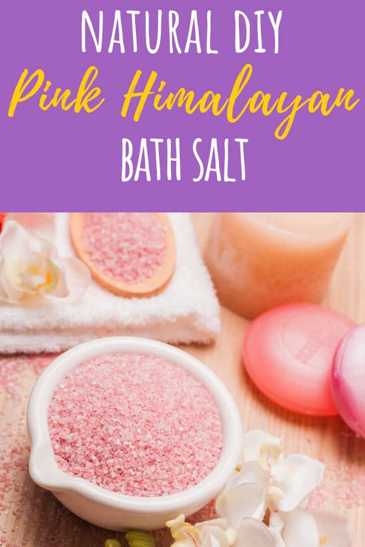 You'll fall in love with the ease of this all natural DIY pink Himalayan bath salt recipe. It's so simple, you'll never use store bought again! All you need are a few ingredients and you'll be well on your way to relaxing, relieving your stress and smelling great! All this is the perfect set up for a luxurious spa day at home! Plus, they make a great gift for those that you want to share this chemical free salt bath with as well! #DIY #homemade #beauty #pinkhimalayan #health #bathsalt