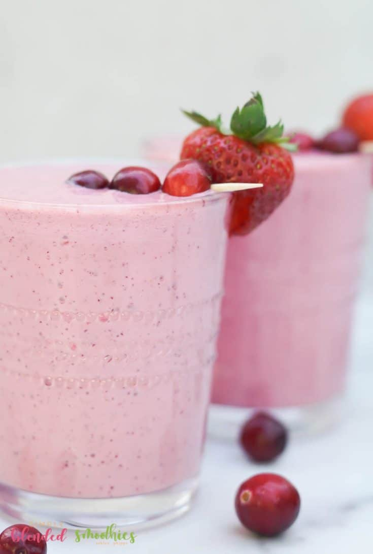 close up image of cranberry truffle smoothies
