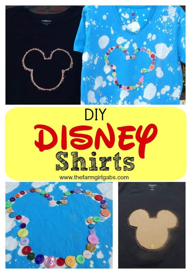 Disney Bleach-Dyed Shirts - Rock your #DisneySide! from How Does Your Garden Grow? ~ {www.thefarmgirlgabs.com}