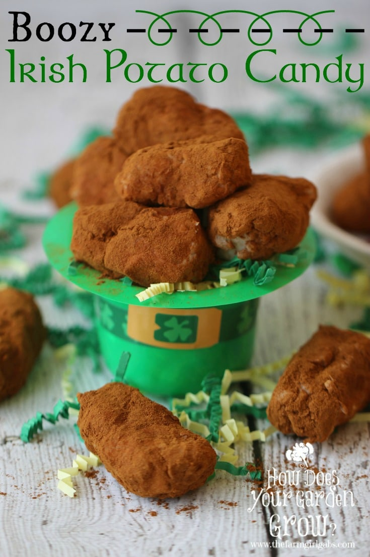 Celebrate Saint Patrick's Day with this Boozy Irish Potato Candy. These delightful confectionary creations combine coconut, cream cheese and butter. They are then formed into small potato shapes and rolled in cinnamon. This easy candy recipe is sure to please on St. Patrick's Day! #stpatricksday #candyrecipe #irishrecipe