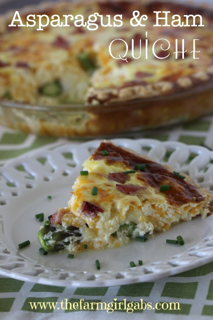 Asparagus & Ham Quiche is perfect for any meal - breakfast, brunch, lunch or dinner. This easy asparagus recipe is great to serve any time of the year, but especially in the spring when asparagus is in season..