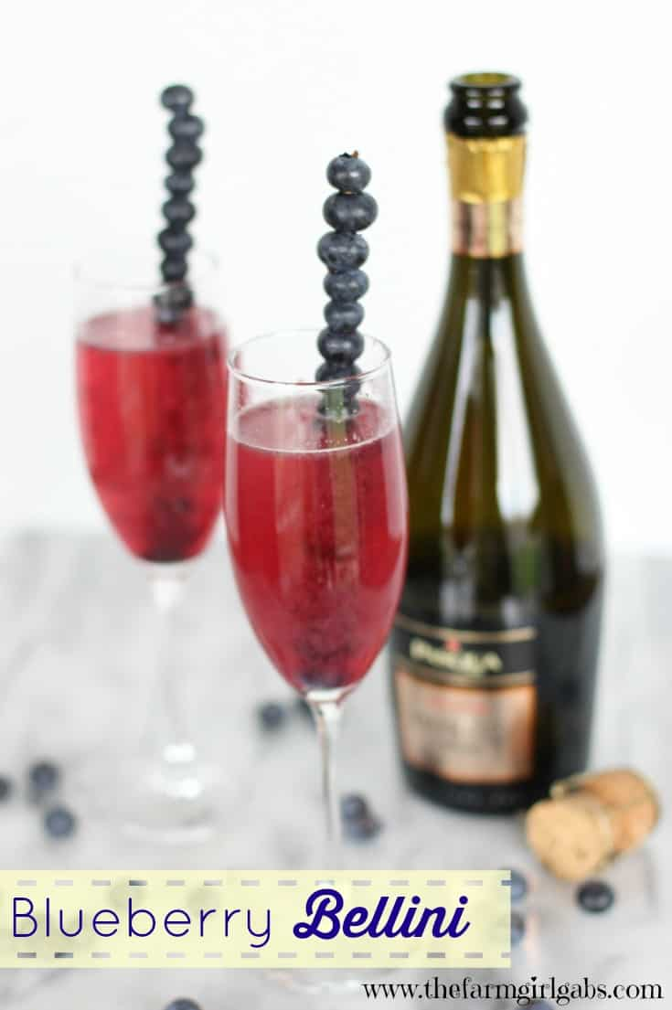 This Blueberry Bellini is the perfect drink to toast the start of summer. It's made with Proseco sparkling wine and Jersey Fresh blueberries. Super easy and delicious drink recipe.