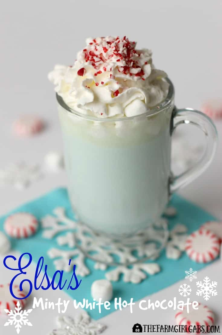 Elsa's Minty White Hot Chocolate, inspired by the Disney movie FROZEN, it the perfect drink to warm you up during the winter months.
