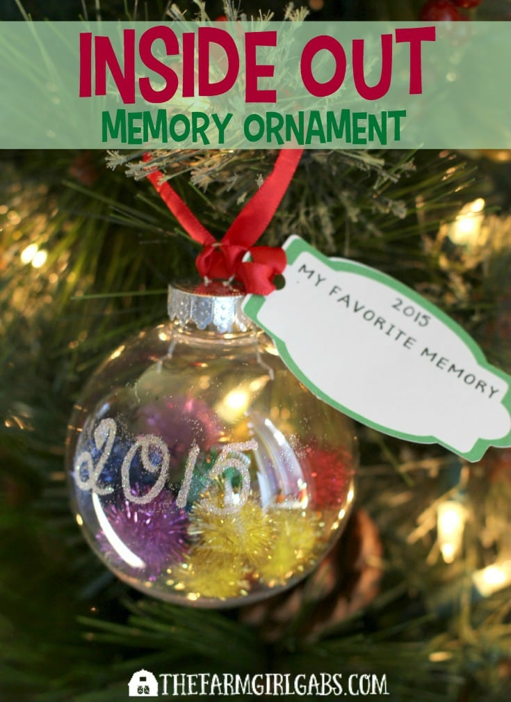 Cherish holiday memories with your kids by making this Inside Out Memory Ornament with them. This simple craft will look perfect hanging on your tree. [Ad] #InsideOutMovieNight