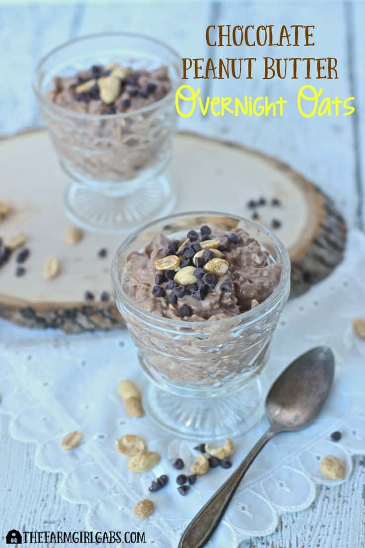 Chocolate Peanut Butter Overnight Oats is a nutirtious breakfast that is prepped the night before. Ad #CarnationSweepstakes #BetterBreakfast