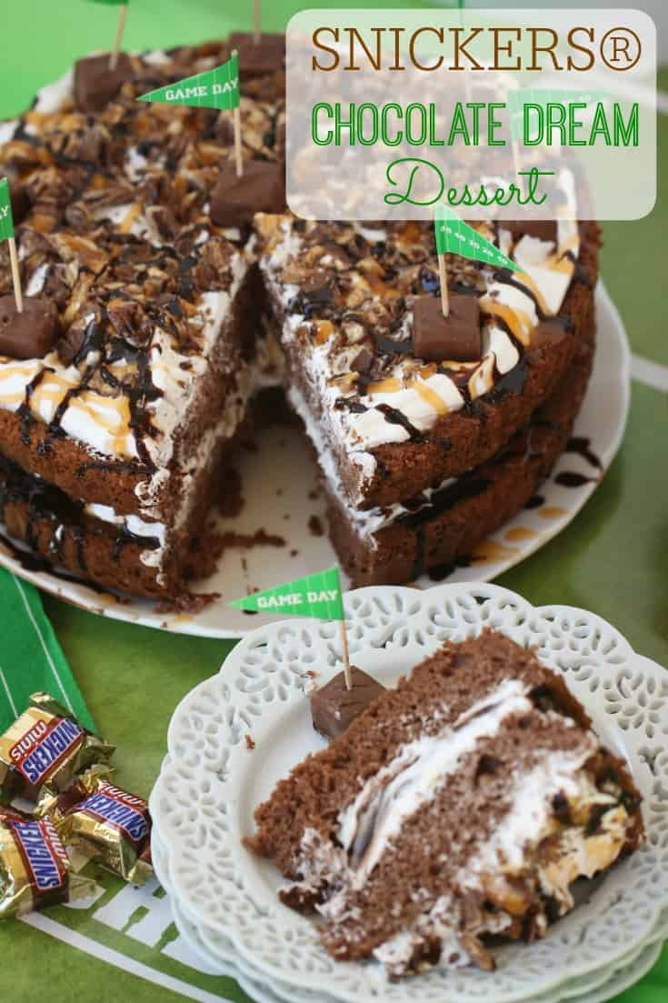 Score a touchdown at your game day party with this delicious SNICKERS® Chocolate Dream Dessert. It's the perfect sweet ending to your Game Day party. Ad #GameDayGlory