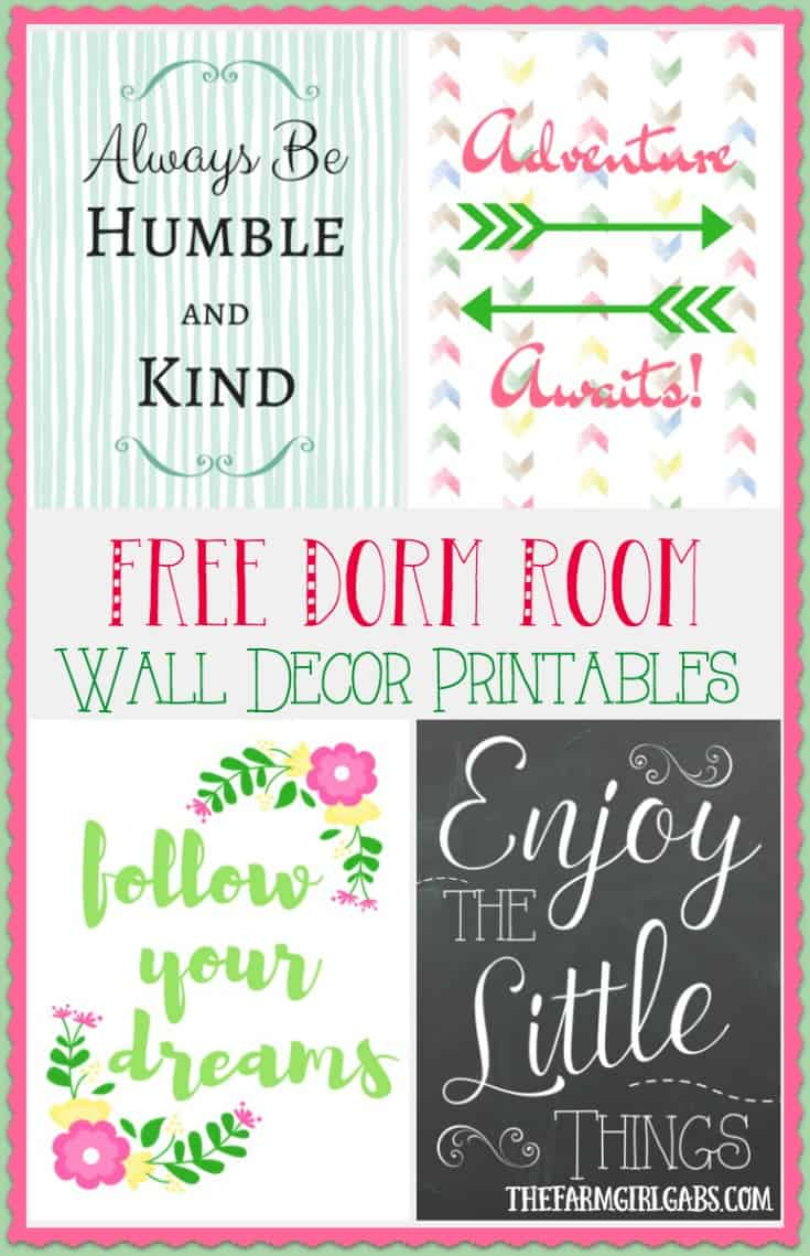 These free Dorm Room Wall Decor printables are the perfect way to add style on a budget to your teen's college dorm room. #AD #BTSwithHP