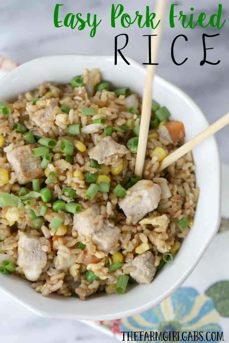 Need a quick dinner or side dish recipe? Skip take out and make this Easy Pork Fried Rice. #Ad #RealFlavorRealFast